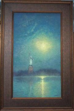 New York City Statue Liberty Moon Light Painting Michael Budden Beacons Night