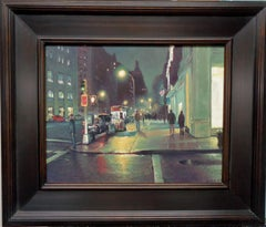 New York City Street Nocturne Rain with Flag Oil Painting Michael Budden