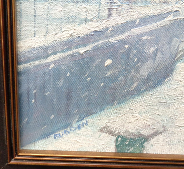 New York City Urban Painting Winter Brooklyn Bridge by Michael Budden  For Sale 1