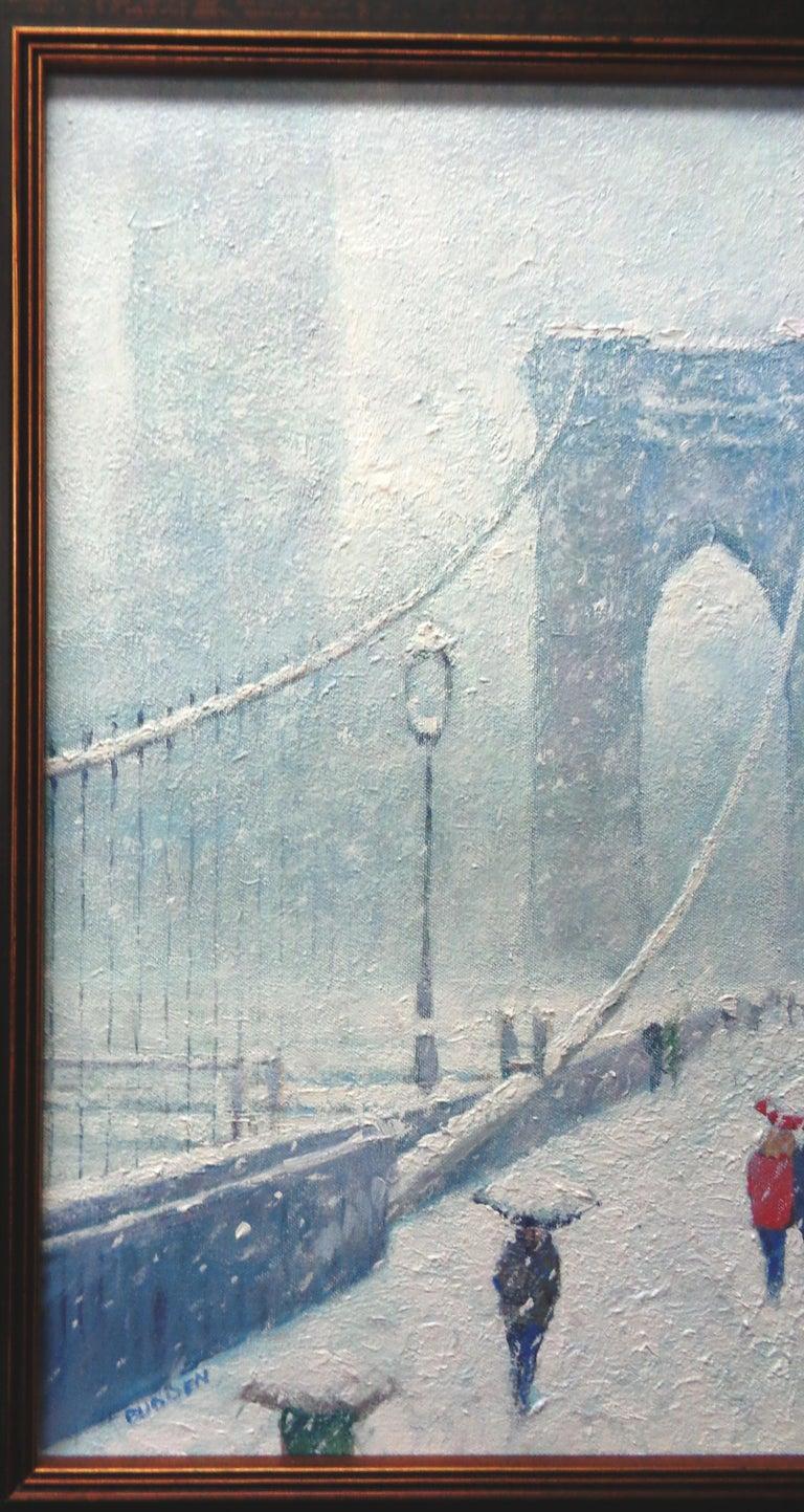New York City Urban Painting Winter Brooklyn Bridge by Michael Budden  For Sale 2