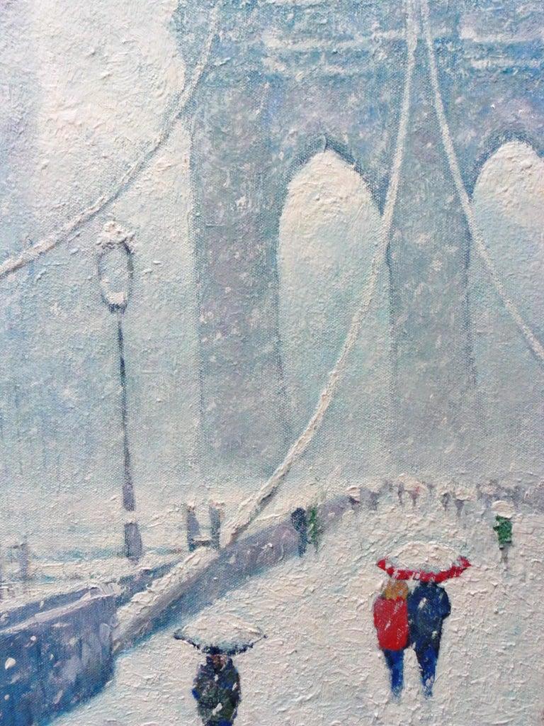 New York City Urban Painting Winter Brooklyn Bridge by Michael Budden  For Sale 3