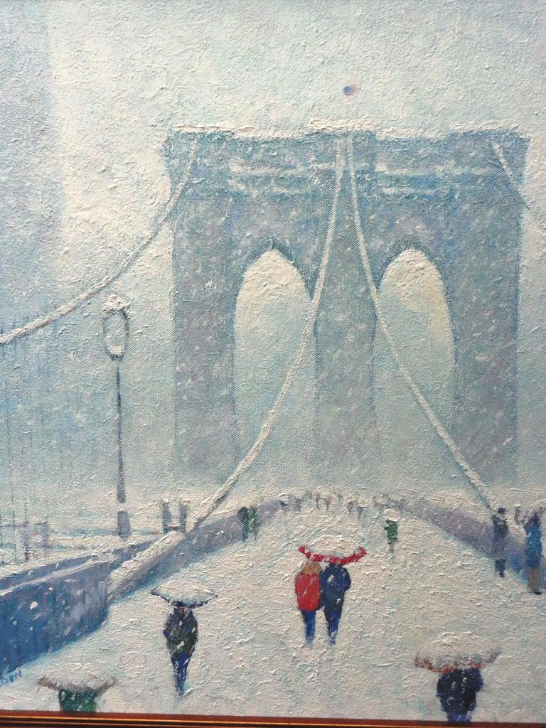 New York City Urban Painting Winter Brooklyn Bridge by Michael Budden  For Sale 4