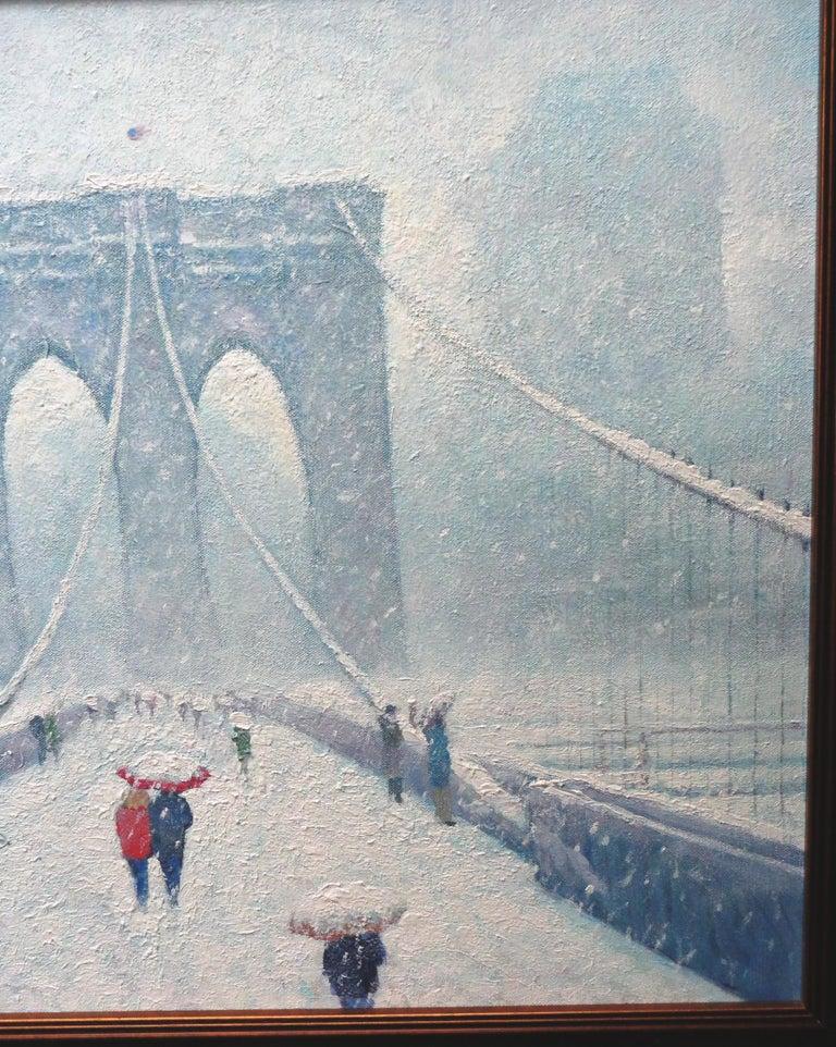 New York City Urban Painting Winter Brooklyn Bridge by Michael Budden  For Sale 5