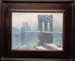 New York City Urban Painting Winter Brooklyn Bridge by Michael Budden