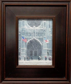 New York City Winter Flags St Thomas Church 5th Ave Oil Painting Michael Budden