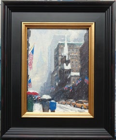 New York City Winter Flags Study Oil Painting of Fifth Avenue by Michael Budden