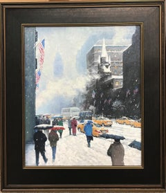 New York City Winter Oil Painting Upper Fifth Avenue Flags Michael Budden