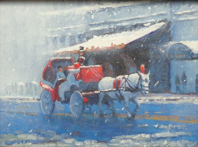 Winter Afternoon Snowy Carriages is an oil painting by award winning contemporary artist Michael Budden that showcases a view of carriages in Central Park. Central Park and the Plaza is one of my favorites parts of the city to hang out and be on the