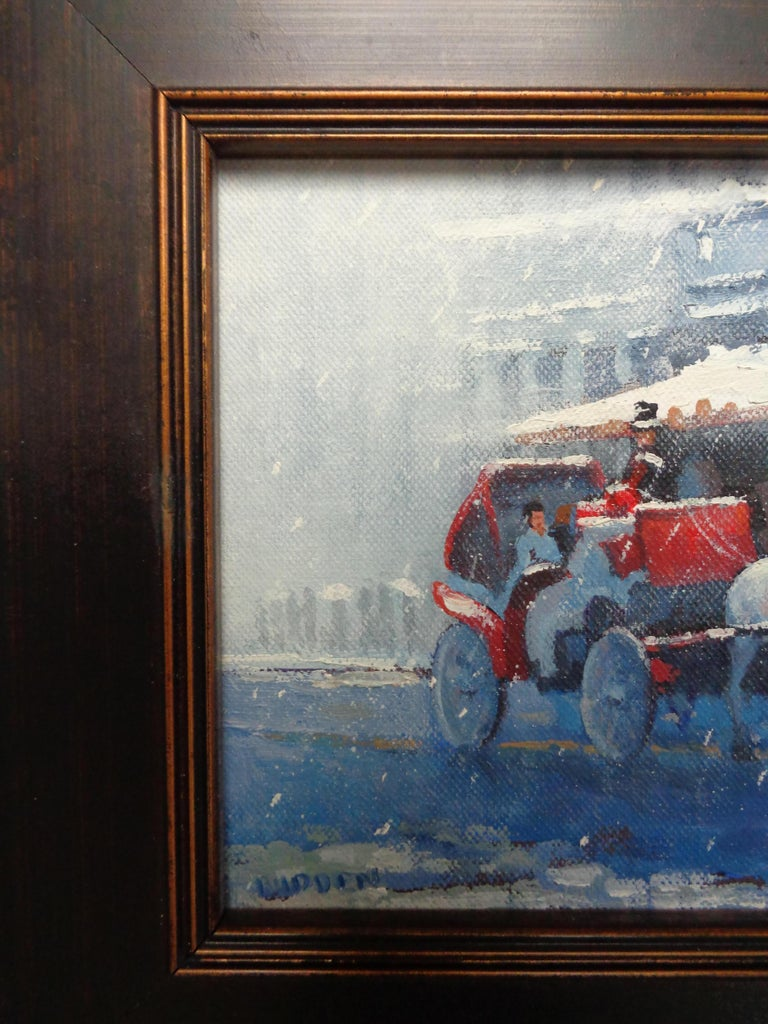 New York City Winter Snow Central Park Carriage Ride Oil Painting Michael Budden For Sale 1