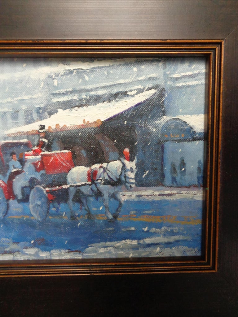 New York City Winter Snow Central Park Carriage Ride Oil Painting Michael Budden For Sale 2