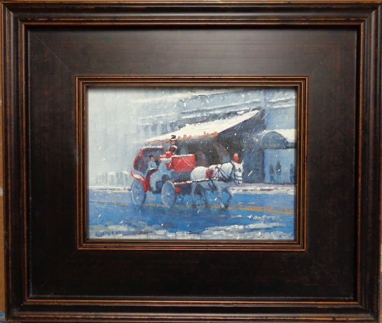 New York City Winter Snow Central Park Carriage Ride Oil Painting Michael Budden - Black Landscape Painting by Michael Budden