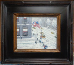 New York City Winter Snow Painting Michael Budden Winter Cartier Flags