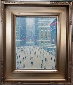 New York City Winter Wall Street Flags Oil Painting by Michael Budden