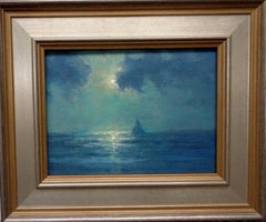 Ocean Beach Impressionistic Moonlight Seascape Oil Painting by Michael Budden
