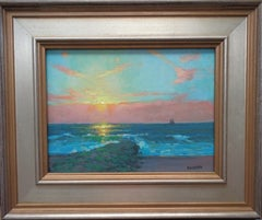 Ocean Impressionistic Seascape Study Painting Michael Budden Here Comes the Sun