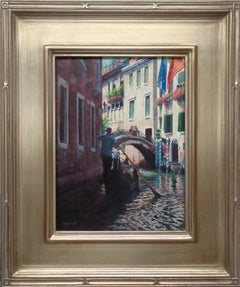 Realistic Seascape Venice Painting Michael Budden Gondoliers Sunlight & Flags