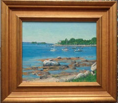 Beach & Ocean Impressionistic Seascape Oil Painting with Boats by Michael Budden