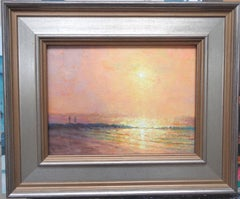 Ocean Beach Impressionistic Seacape Sunrise Oil Painting by Michael Budden
