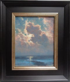 Landscape Seascape Impressionistic Oil Painting by Michael Budden Moonlight