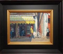 Venice Seascape Oil Painting Market Scene by Michael Budden Venetian Yellow