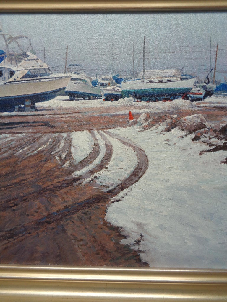 Winter Boats Oil Painting by Michael Budden Winter At Beattons Boat Yard NJ For Sale 2