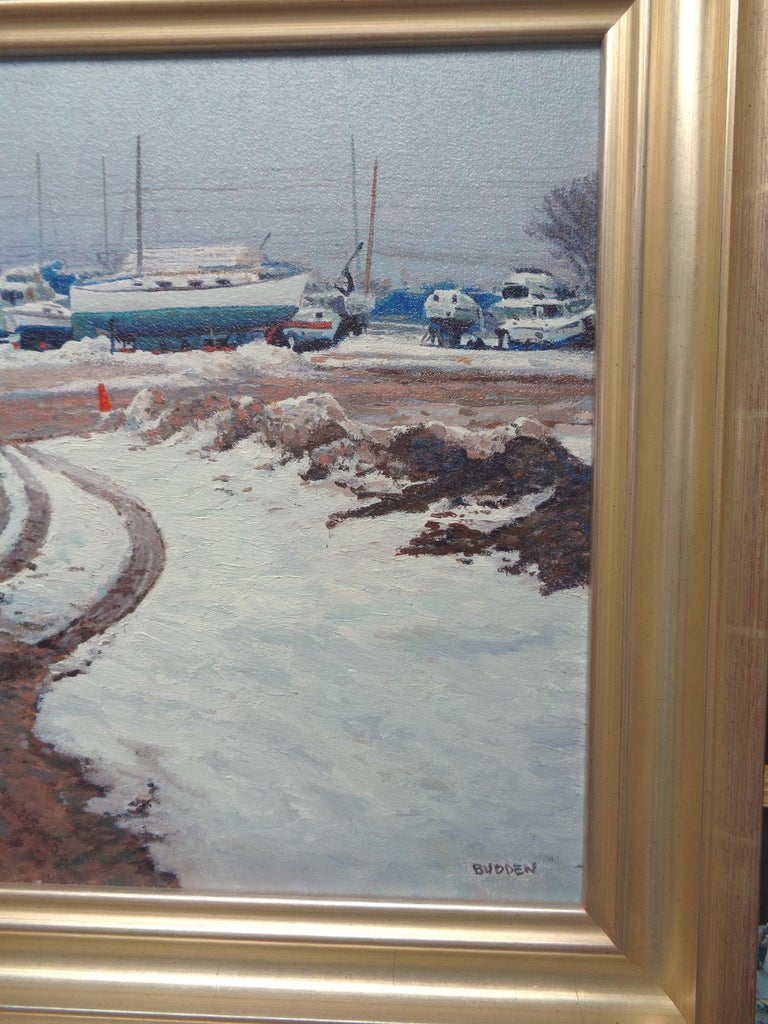 Winter Boats Oil Painting by Michael Budden Winter At Beattons Boat Yard NJ For Sale 3