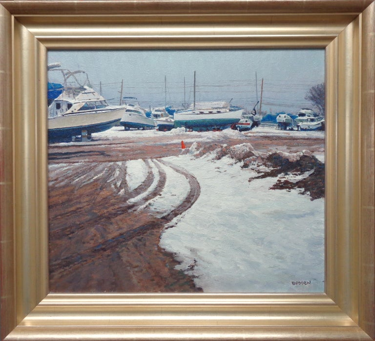 Winter at Beattons Boat Yard is an oil painting on canvas by award winning contemporary artist Michael Budden that showcases a beautiful winter view of boats at Beattons Boat yard in Pt Pleasant NJ. The image measures 16 x 18 unframed and 20.75 x