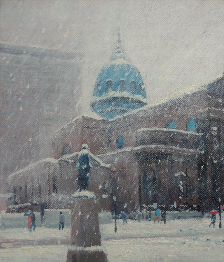 Winter Cityscape Painting Michael Budden Saints Peter & Paul Cathedral Phila For Sale 1
