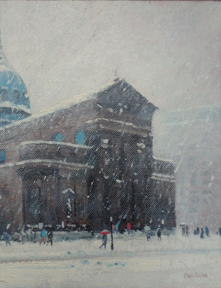 Winter Cityscape Painting Michael Budden Saints Peter & Paul Cathedral Phila For Sale 2
