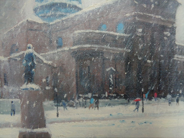 Winter Cityscape Painting Michael Budden Saints Peter & Paul Cathedral Phila For Sale 3