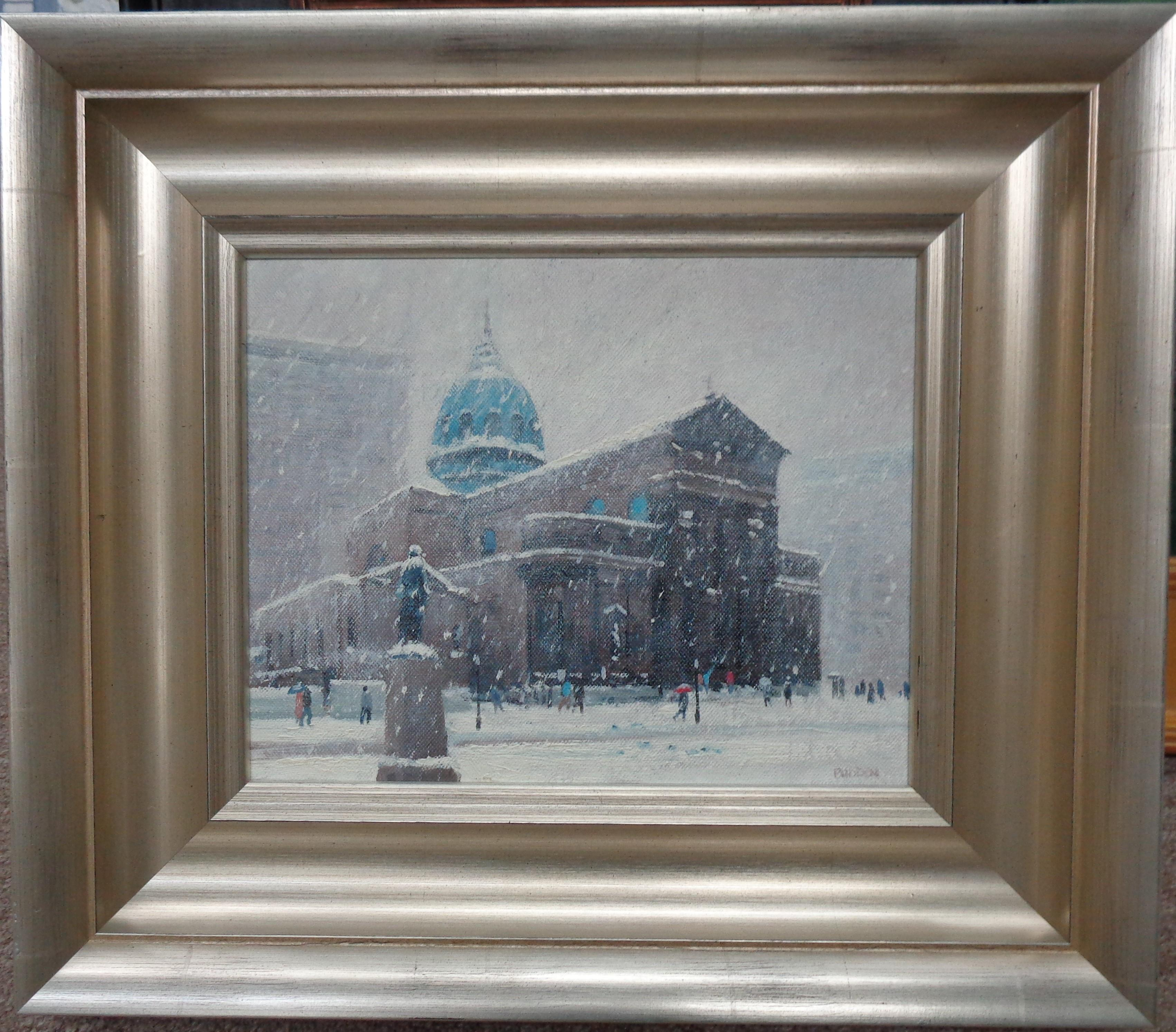 Winter Cityscape Painting Michael Budden Saints Peter & Paul Cathedral Phila