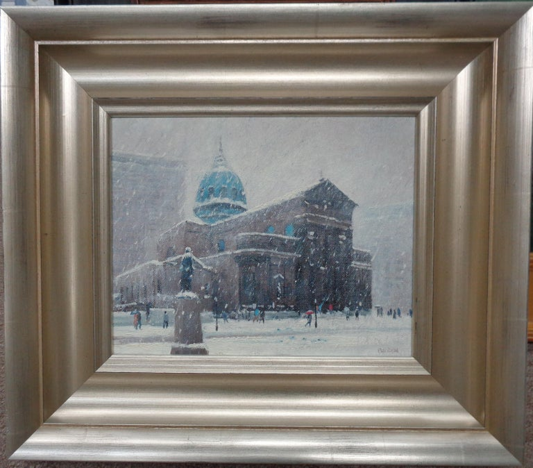 Winter Cityscape Painting Michael Budden Saints Peter & Paul Cathedral Phila - Gray Landscape Painting by Michael Budden