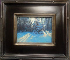 Winter Landscape Oil Painting by Michael Budden Beautiful Backlight