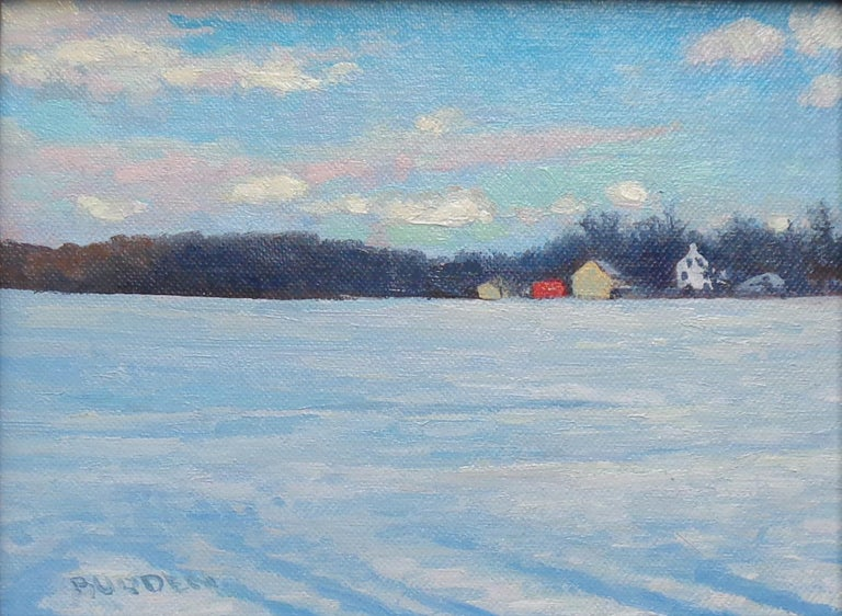 Winter Landscape Oil Painting by Michael Budden Winter Farm Study For Sale 1