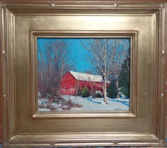 Winter Landscape Oil Painting by Michael Budden Winter Shimmer, Barn