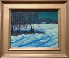 Winter Nocturne Moon Light Snow Scene  Landscape Oil Painting by Michael Budden