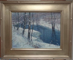 Winter Landscape Oil Painting  by Michael Budden Winter Stream Snow