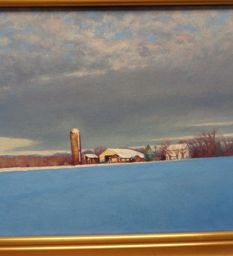 Winter Snow Scene Contemporary Landscape Oil Painting by Michael Budden For Sale 3