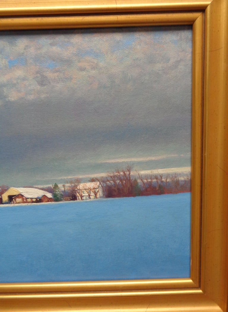 Winter Snow Scene Contemporary Landscape Oil Painting by Michael Budden For Sale 4