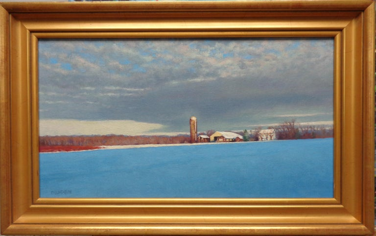 An oil painting on canvas by award winning contemporary artist Michael Budden that showcases a beautiful winter landscape with later afternoon light casting long shadows. The image measures 10 x 18 unframed and 13.25 x 21.25 framed.   ARTIST'S