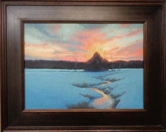 Winter Sunset Landscape Oil Painting by Michael Budden Winter Evening