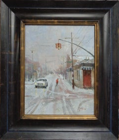 Winter Urban City Street Scene Painting American Impressionist Paul Bachem