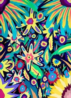 Michael Callas, Neon Flowers I (Glow in the Dark), Spray Paint/Stencil