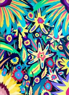Michael Callas, Neon Flowers II (Glow in the Dark), Spray Paint/Stencil