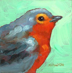 """""""All Cozy"""" impasto oil painting of a grey and orange bird on green background"""