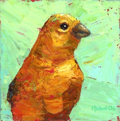 """""""And It Glows"""" Impasto oil painting of yellow bird on green background"""