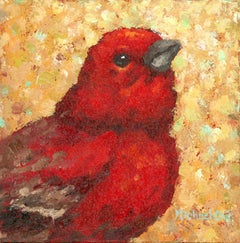 """""""Do the Right Thing"""" Impasto oil painting of a red bird on gold background"""