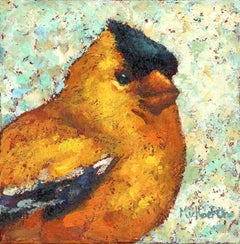 """""""Lots of Laughs"""" Impasto oil painting of a yellow and black bird"""