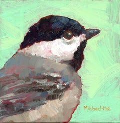 """""""Misty Morning"""" Impasto oil painting of a grey bird on green background"""