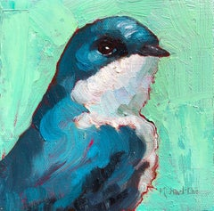 """""""Sharp Gaze"""" Impasto oil painting of a blue bird with green background"""